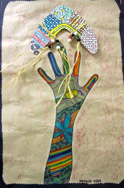 Elementary Art lessons mixed media Australia aboriginal multi-cultural boomerang hands tatoos