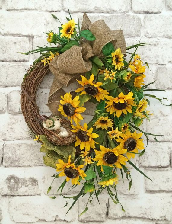 Sunflower Wreath, Summer Wreath for Door, Front Door Wreath, Silk Floral Wreath, Grapevine Wreath, Outdoor Wreath, Summer Decor, Burlap,Bird