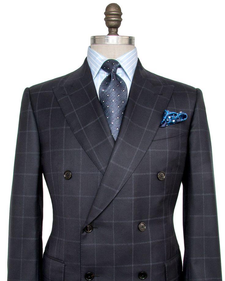 Ermenegildo Zegna Navy Windowpane Suit Double breasted jacket Peak lapel Pick…