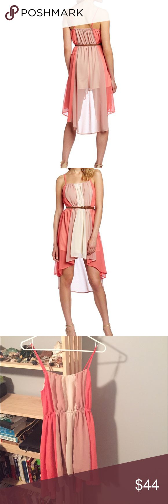 C. Luce Women's Fun Daytime Dress Coral 100% Polyester Machine Wash WITHOUT belt. Flowy Dress for Spring/Summer. Festival vibes, graduation, prom, and party dress. Adjustable Spaghetti Straps, slip underneath with coral sheer high/low asymmetrical bottom. C. Luce Dresses Asymmetrical