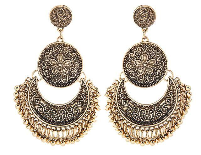 New Fashion Earring Stone Brand Wedding Bohemian Punk Long Stud Round  Hollow Tassel earrings for Women Jewelry