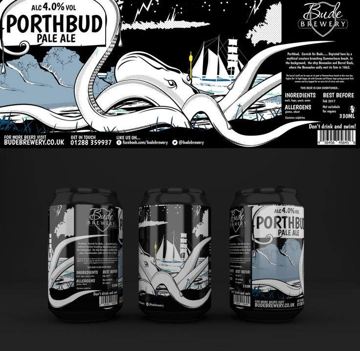 Porthbud Beer Can Designs for Bude Brewery, Cornwall