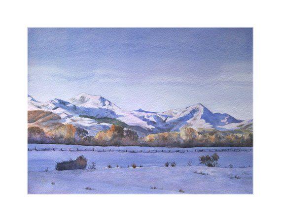 Snow Mountain Watercolor Landscape Mountains Artwork Snow Painting Hand Made Painting Peintures De Montagne Painting Comment Peindre