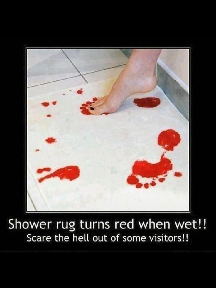 Bathmat that turns red when wet...creepy/cool