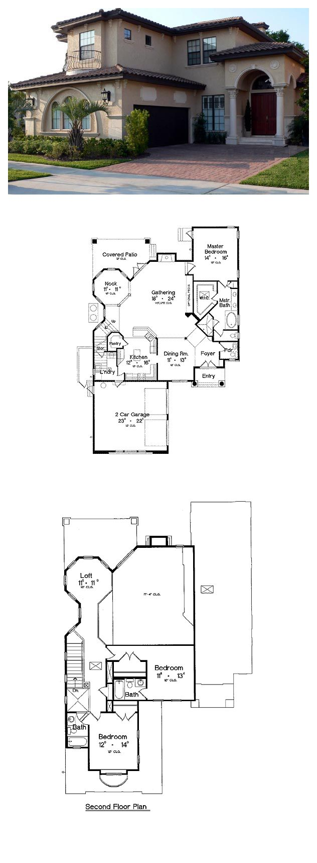 Italian House Plan 64616 | Total Living Area: 2733 sq ft, 3 bedrooms & 3.5 bathrooms. #houseplan #italian
