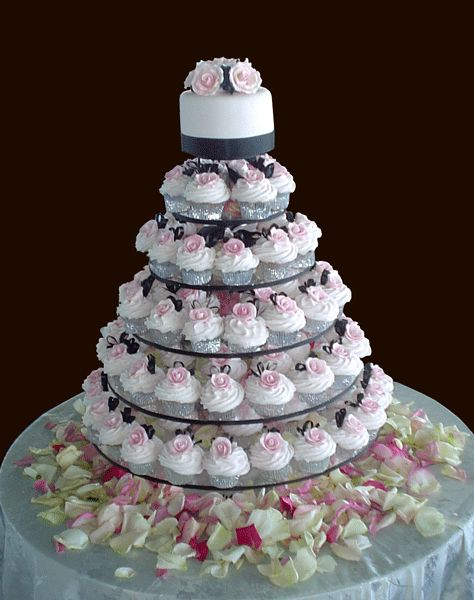 Wedding Cupcake Tower- Love this idea but with Sprinkles cupcakes!