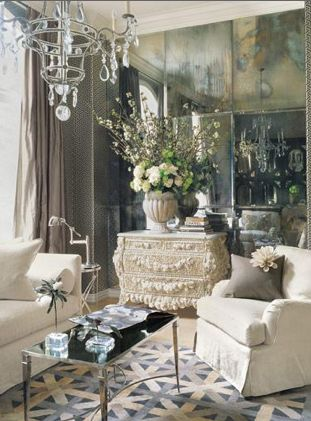 antiqued mirror wall: Decoration Blog, Living Rooms, Wall Panels, Antiques Mirror, Wall Mirror, Interiors Design, Mirror Wall, Sit Rooms, Rooms Color