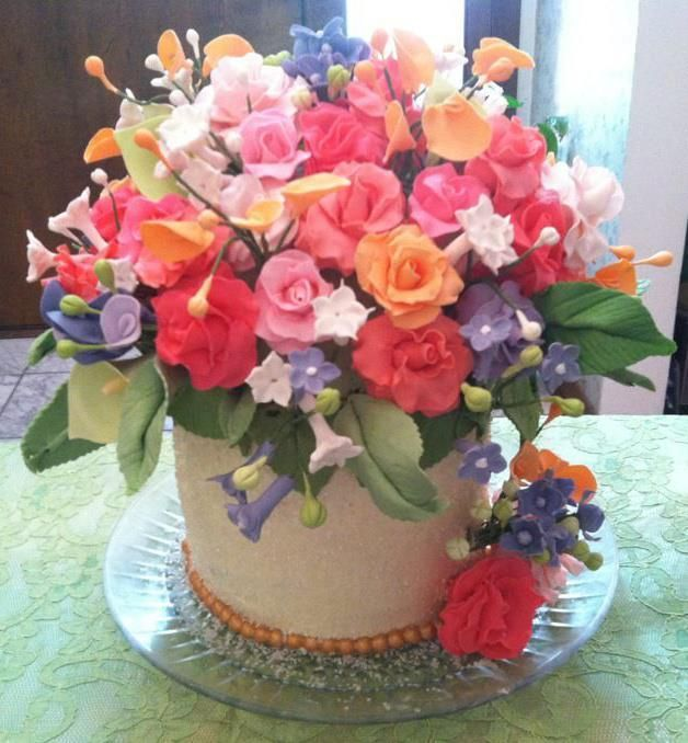 Cake Covered in Sugar Flowers