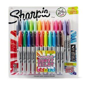 Amazon.com : Sharpie Color Burst Permanent Markers, Fine Point, Assorted Colors, 24-Count : Office Products