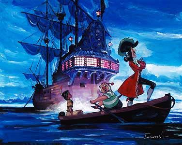 Peter Pan - Hook and Tiger Lily - Jim Salvati - World-Wide-Art.com - $450.00 #Disney #JimSalvati