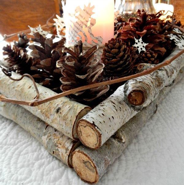 birch branch and pinecone winter wedding centerpieces