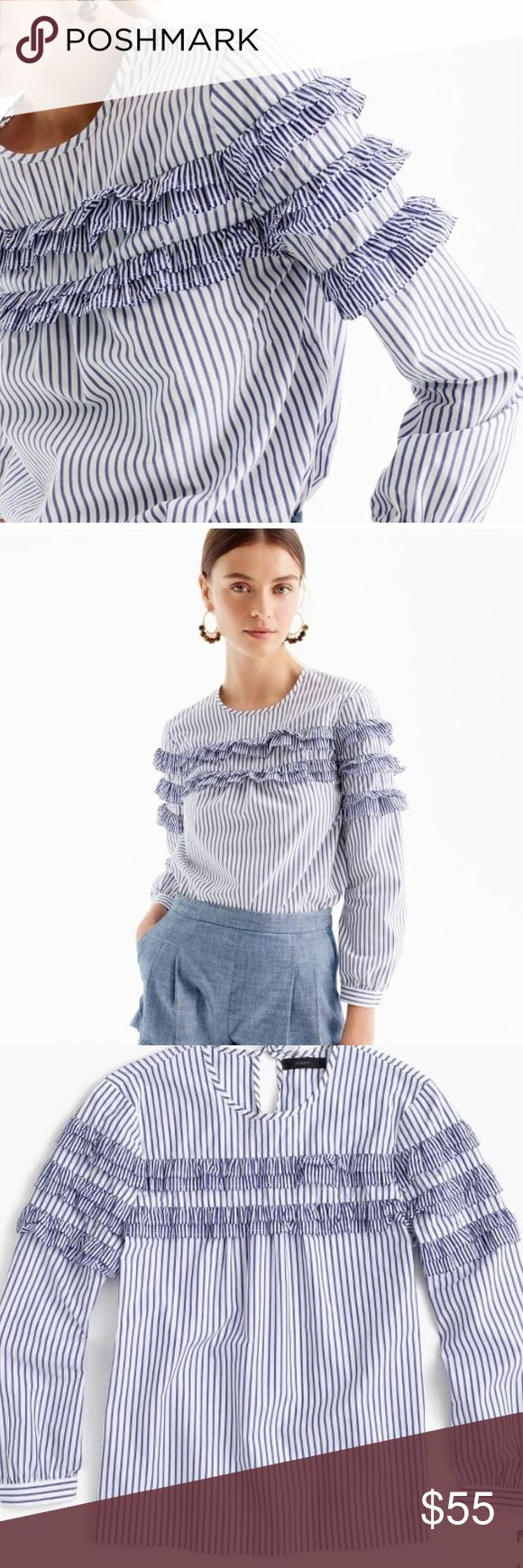 "J.Crew tiered top in mixed stripe Body length: 26 1/2"". Size is 8 tall.  A fresh take on shirting stripes, in a feminine silhouette that we love for work and weekends.  Cotton. Bracelet sleeves. Machine wash. J. Crew Tops Blouses"