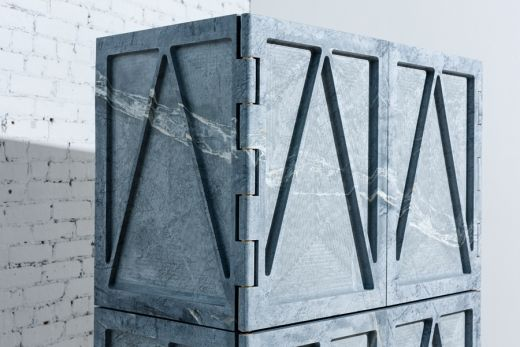 Fort Standard's monolithic cabinet defies the material properties of soapstone via Frameweb.com