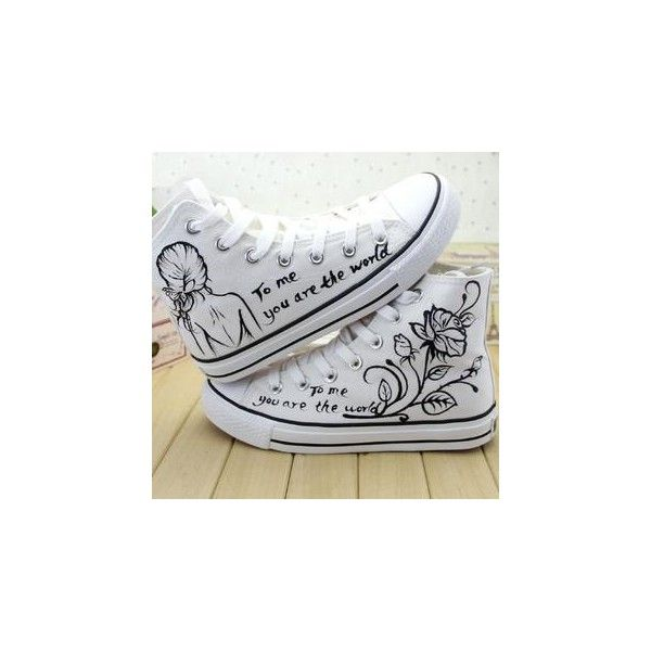 Painted High-Top Lace-Up Canvas Sneakers ($30) ❤ liked on Polyvore featuring shoes, sneakers, converse, footware, clear shoes, canvas sneakers, canvas lace up sneakers, white trainers and clear sneakers