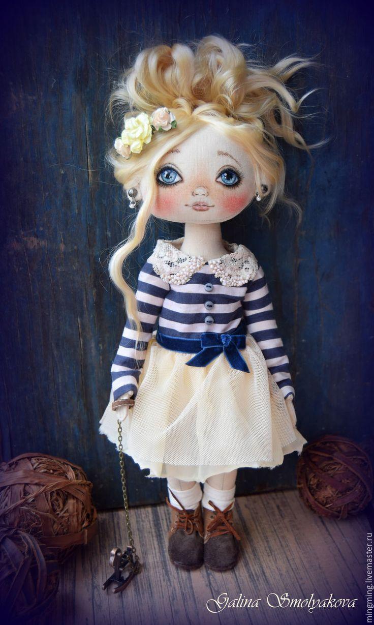 Купить Marselin - тёмно-синий, девочка, море, морской стиль, подарок, блондинка, хлопок 100%