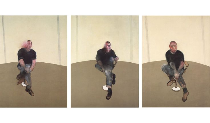 "Francis Bacon / study for self-portrait (triptych) / 1985/6 [""precariousness of life invoked by historical & contemp figures - including bacon himself & friends. contours blur and dissolve, faces distorted & obscured by shadows. ""]"