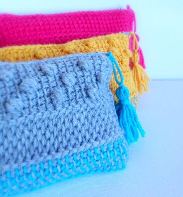 Tunisian crochet clutch purse (only photos, no pattern) | poppyandbliss