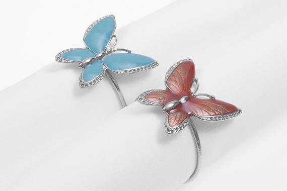 Modern Napkin Holders, Butterfly napkin holder, Colorful Napkin Rings, Perfect Table Setting, Set of Napkin Holder