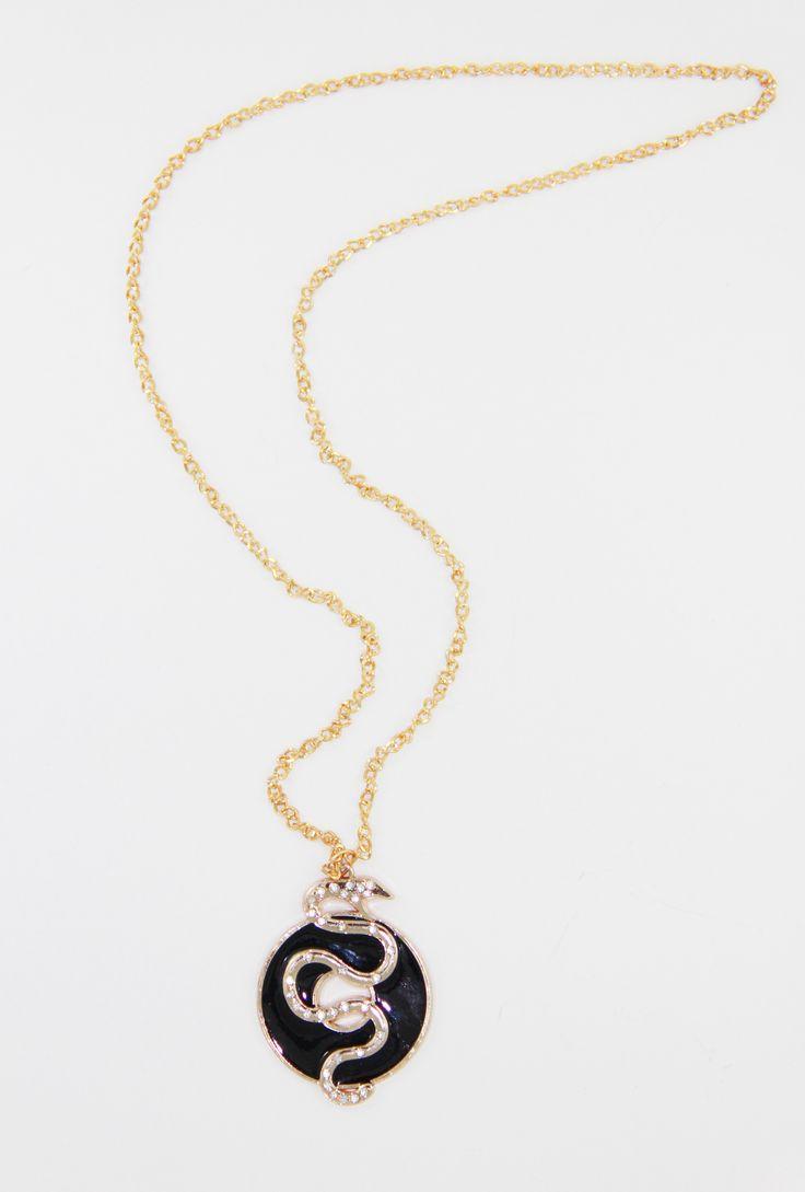 Gold Yılan Figür 43 cm uzunlugunda üzeri taş detaylı kolye. www.suanyemoda.com