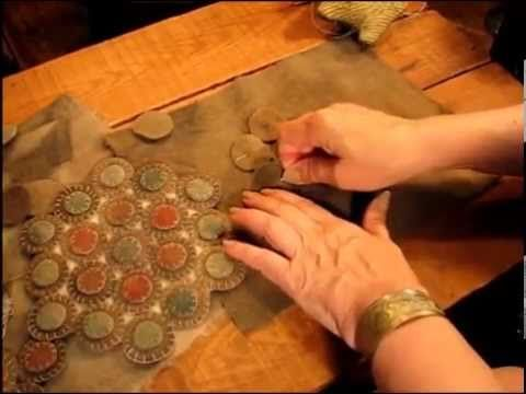 """My very talented friend Cee is sharing her penny rug stitching methods! These are must sees! """"Part 1 Candle Mats Kit  This is the 5 part Instructional videos for my (Cee's) first penny rug kit.  If you would like to be on a mailing list for future kits visit my (Cee's) facebook page and leave a comment https://www.facebook.com/pennyrugs"""""""