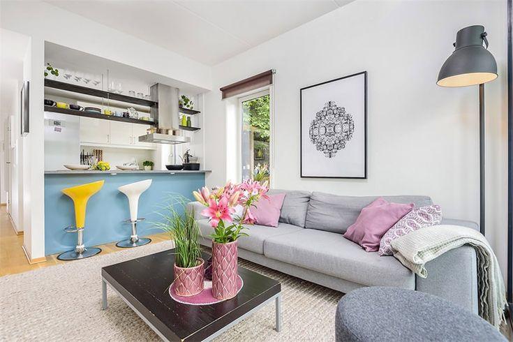 10 sala cozinha americana azul e amarelo Decoraç u00e3o Sala Pinterest Best Cozinha americ