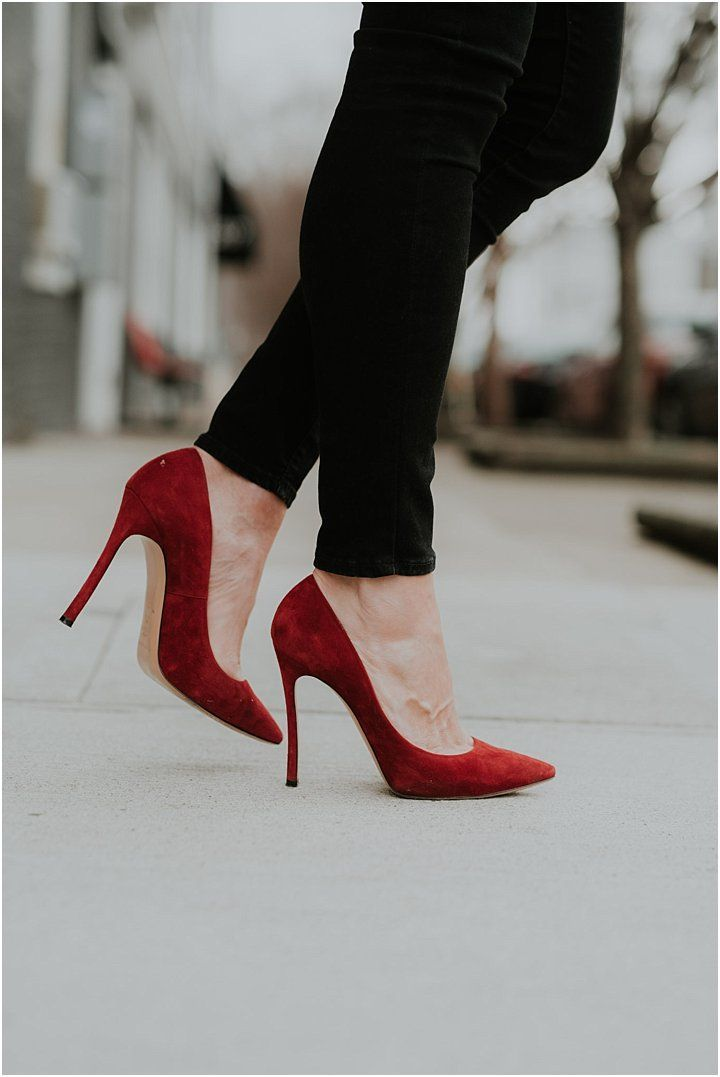 Red Stiletto Heels * Red Suede Heels * Valentine's Day Outfit Inspiration #stilettoheelsoutfit