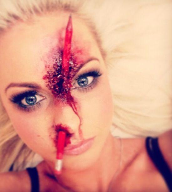 Gross Halloween pencil mishap makeup