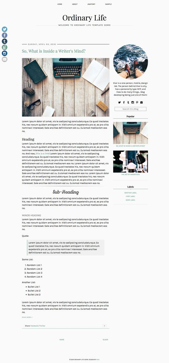 Blogger Responsive Template  Ordinary People by Usual Habitat on Etsy | Minimalist, modern, simple, Blogger template for lifestyle, fashion, travel or book bloggers.