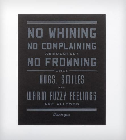 No Whining Letterpress Art Print