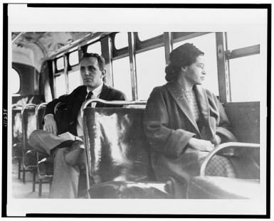 Rosa Parks, Civil Rights Activist: A Brief Biography: Rosa Parks on Bus in Montgomery, Alabama - 1956