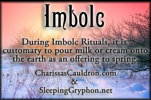 Imbolc Magickal Tip - During Imbolc Rituals, it is customary to pour milk or cream onto the earth as an offering to spring.