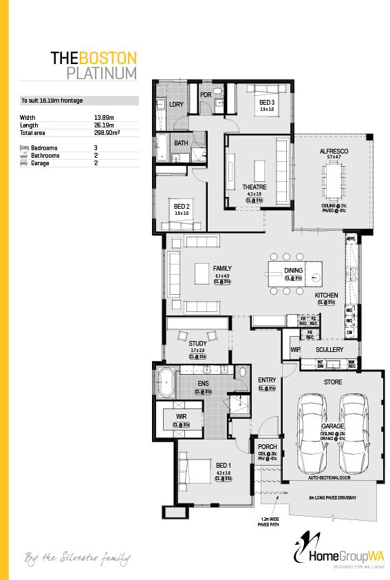 The Boston Platinum display home floor plan. Only available at Home Group WA.
