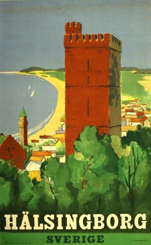 Halsingborg (Helsingborg), 1947 - original vintage poster listed on AntikBar.co.uk