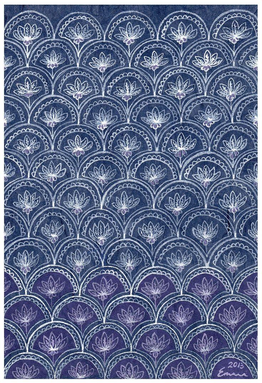 'Lotus Tile' Gouache on Japanese Unryushi paper by Emma Jennings www.emmajennings.com.au