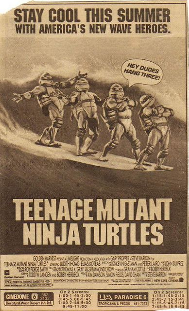Old movie ad for the first TMNT movie