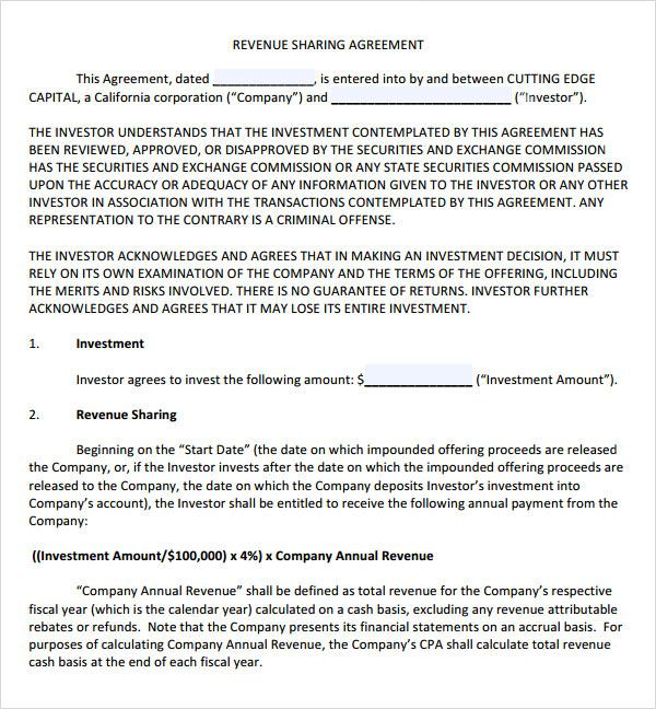 Sample Profit Sharing Agreement  Free Documents In Pdf Doc