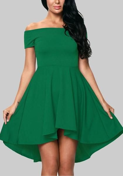 cceef41662ae Green Irregular Draped Off Shoulder Backless High-low St. Patrick s Day  Homecoming Party Midi Dress
