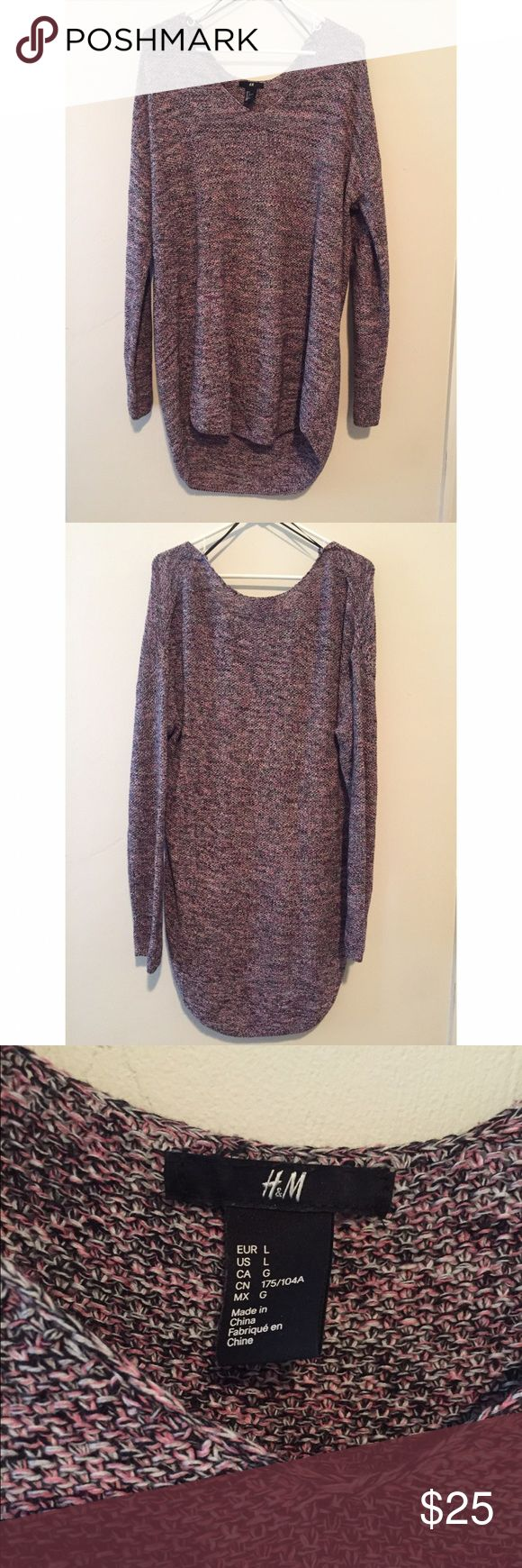Pink & Black Oversized Sweater Dress - NWOT This H&M sweater dress is super comfortable. Great to wear with gladiator sandals or knee high boots. Or can be worn oversized with leggings! Perfect condition. H&M Dresses Long Sleeve