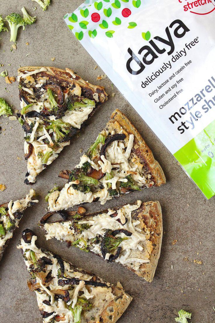 Broccoli and Caramelized Onion Hummus Pizza