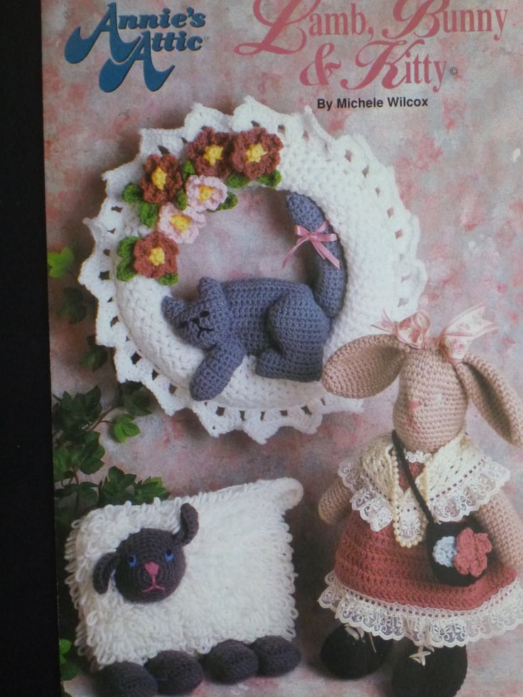Annie's Attic Lamb, Bunny & Kitty to crochet. crochet lamb, crochet bunny, crochet cat : 911 by CarolsCreations77 on Etsy