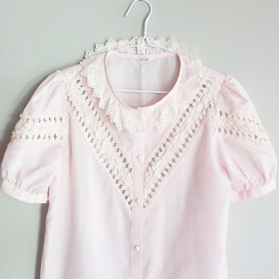 Check out this item in my Etsy shop https://www.etsy.com/ca/listing/270398029/lace-blouse-office-blouse-pink-lace