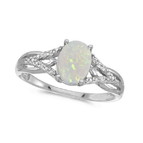 Oval Opal and Diamond Cocktail Ring 14K White Gold by Allurez, $472.50    Leila's birthstone