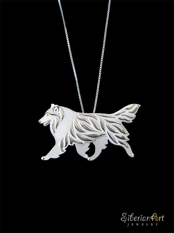 Rough Collie movement - sterling silver pendant and necklace