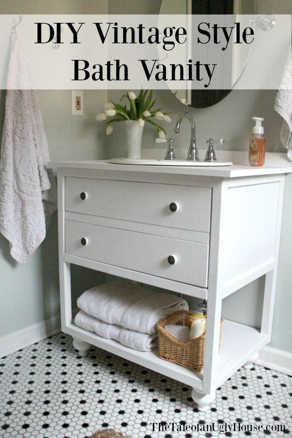 DIY Vintage style bathroom vanity. Free building plans!