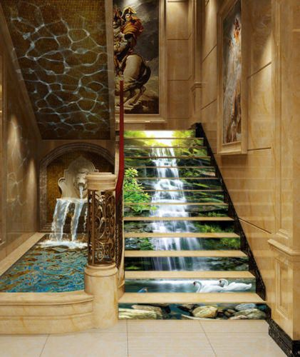 3D Waterfall stone Forest View 65 Staircase Stairway Stairs
