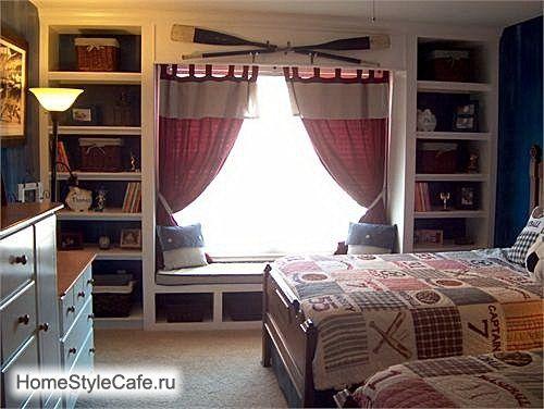 ФОТО ИНТЕРЬЕРА ДЕТСКОЙ. Оформление окна в детской комнате. Интерьер детской комнаты в морском стиле.