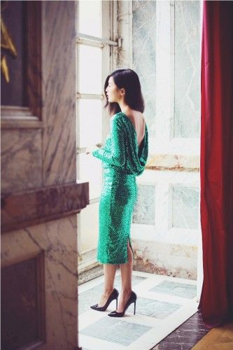 metallic green cocktail dress