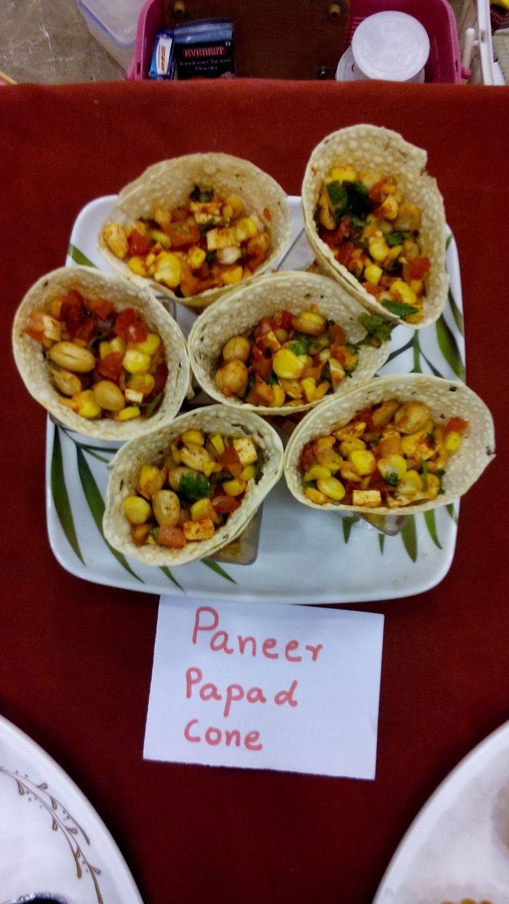 Prestige Bandhan, a multi-cuisine cookery show - held at Prestige Smart Kitchen store, Jamnagar. Paneer Papad Cone dish prepared by Chef Kiran Madlani