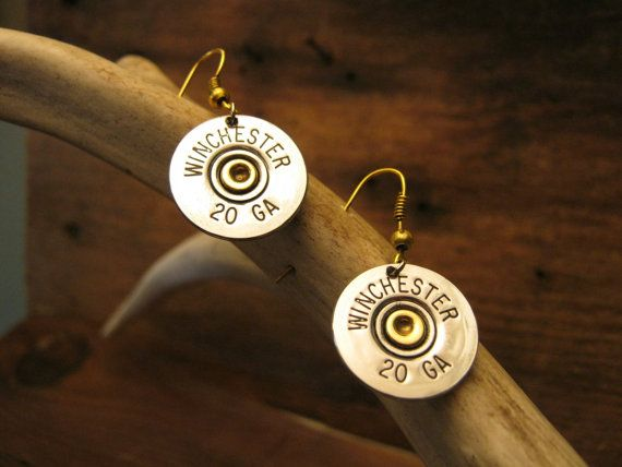Bullet Earrings  Upcycled Shot Gun Shell Jewelry by FancyRounds, $20.00