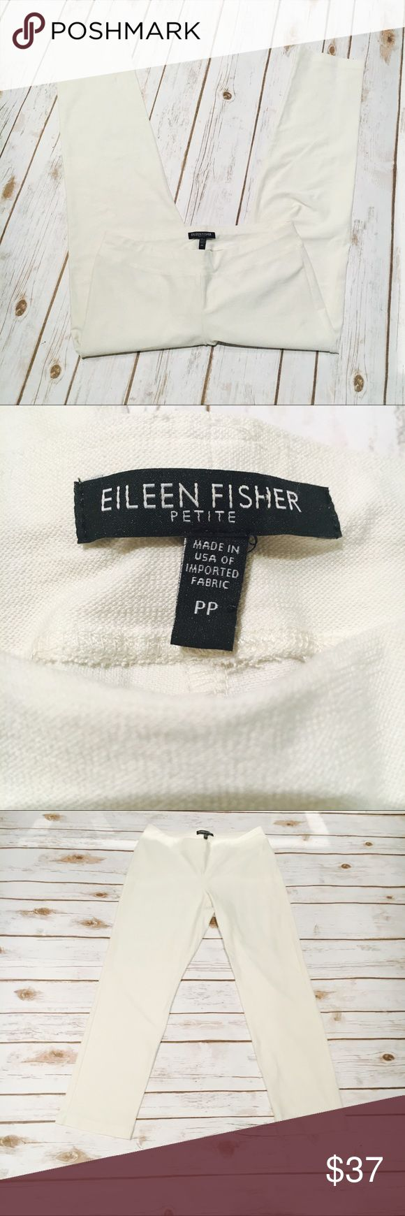 Eileen Fisher White Petite Legging Pant Incredible feeling ponte pant/legging from Eileen Fisher in a PP petite (fits like a 2/4p) . White is in perfect condition with no stains or fame. Elasticized waistband, pull on style. Eileen Fisher Pants Ankle & Cropped